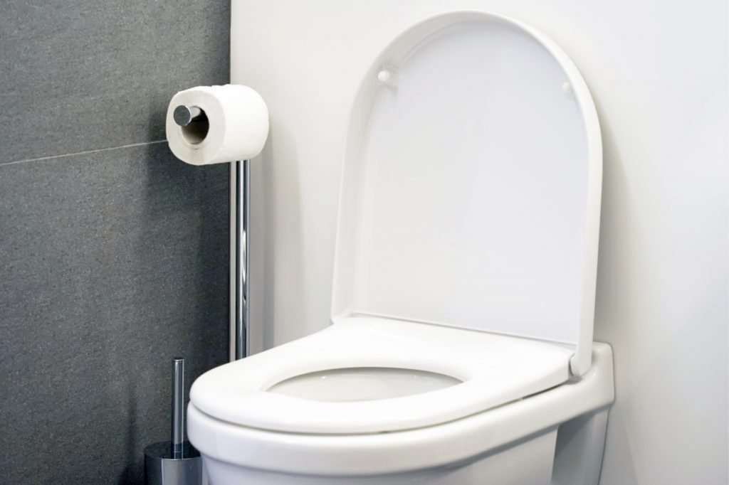 Close-up of toilet bowl and roll on toilet paper holder. Toilet paper roll in restroom.