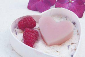pink heart shape soap.
